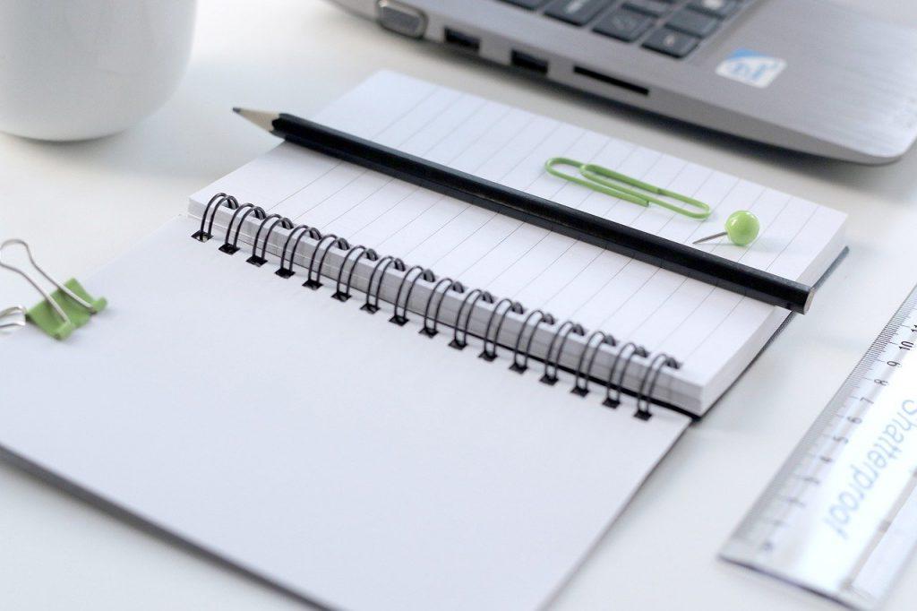 notebook, pencil, paper